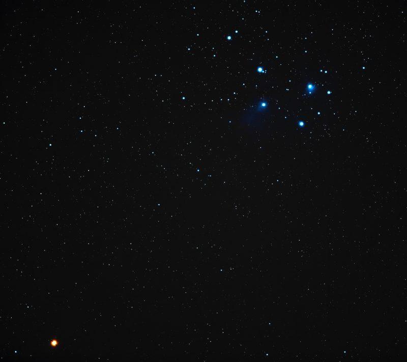 Reddish dot at bottom left, blue cluster upper right.