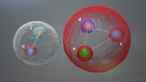 A large red ball and a smaller white one, each with three brightly-colored balls inside connected by bands of dots.