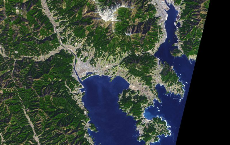 Satellite image of city on bay in Japan surrounded by forested, hilly land.