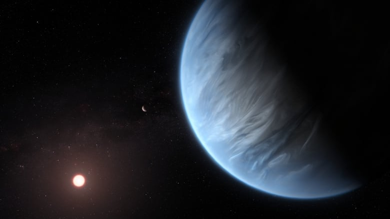 Large bluish planet with clouds and small sun in background.