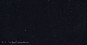 A star field showing the stars in the constellation Leo.