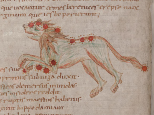 Ancient manuscript with latin calligraphy an an image of a lion.