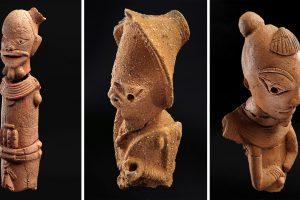 Three pieces of elaborate terra-cotta figurines.