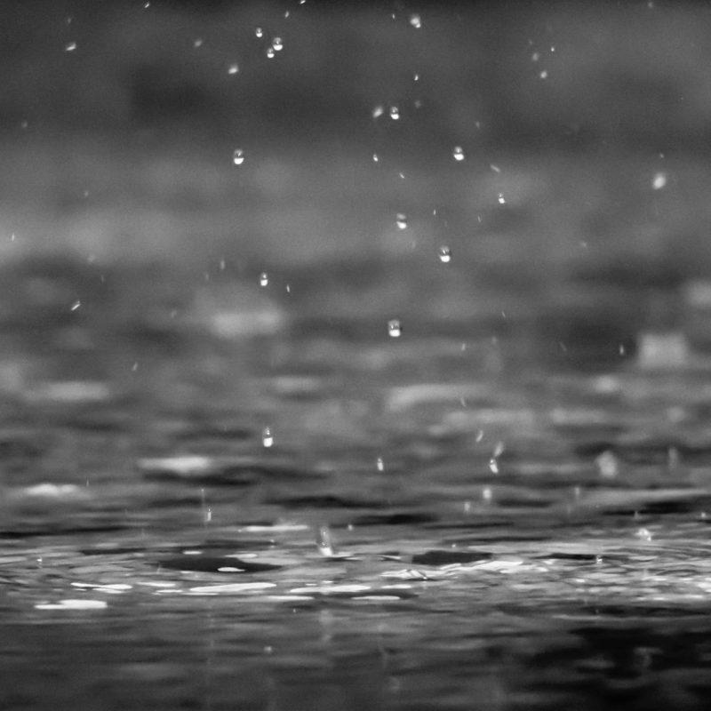 Small water drops hitting water surface below.