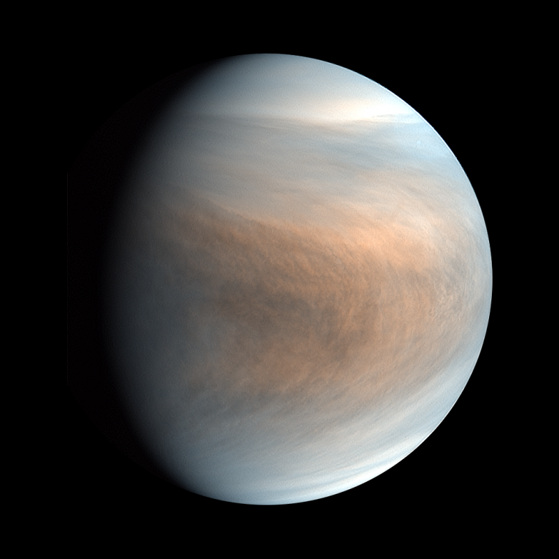 Colorful, banded thick clouds on a planet in space.