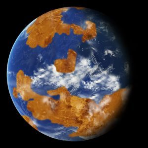 Earth-like planet in space with brown land, blue oceans, and white clouds.