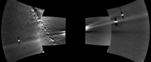 Four curved squares with bright spots and a fuzzy straight line across all four, on black background.