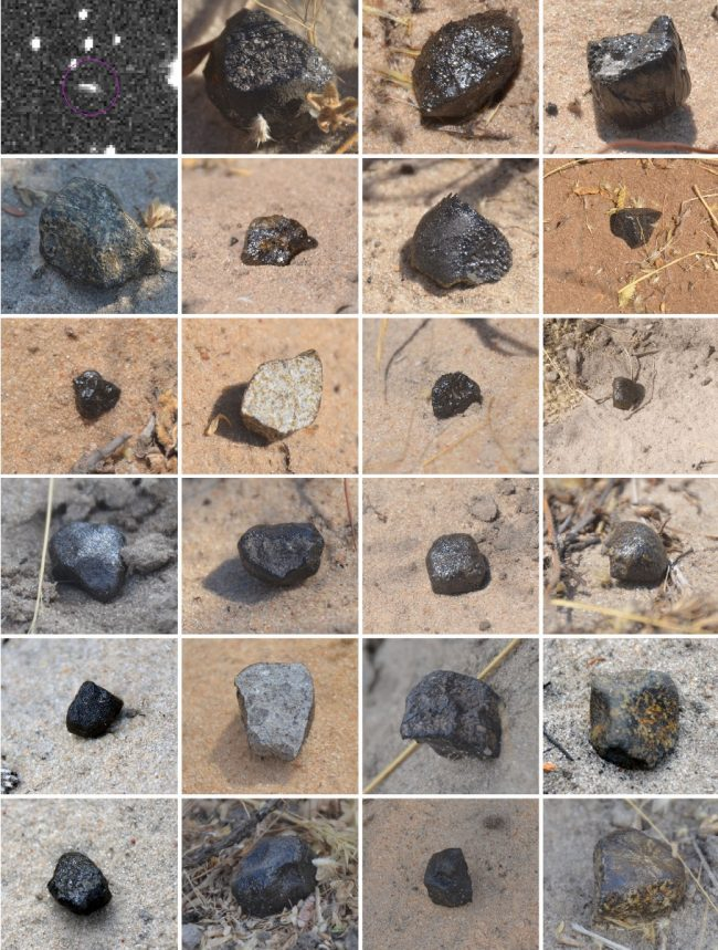 Grid showing 23 mostly black rocks and one pic of stars with a short white streak.