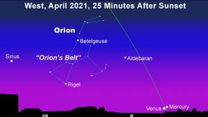 Constellation Orion, slanted ecliptic line, 2 planets close together just over horizon.