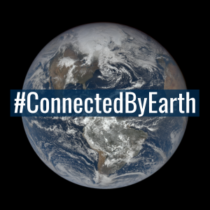 Photo of Earth from space with the words 'Connected by Earth' across it.