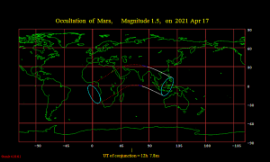 Worldwide map of the lunar occultation of Mars on April 17, 2021.