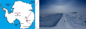 Map of Antarctica, with scene of wide, deep, smooth-bottomed trench in snow.
