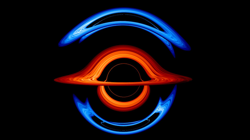Brilliant blue and red arcs of light on a black background.