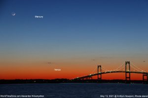 The moon and two bright planets at sunset over a suspension bridge on a bay.