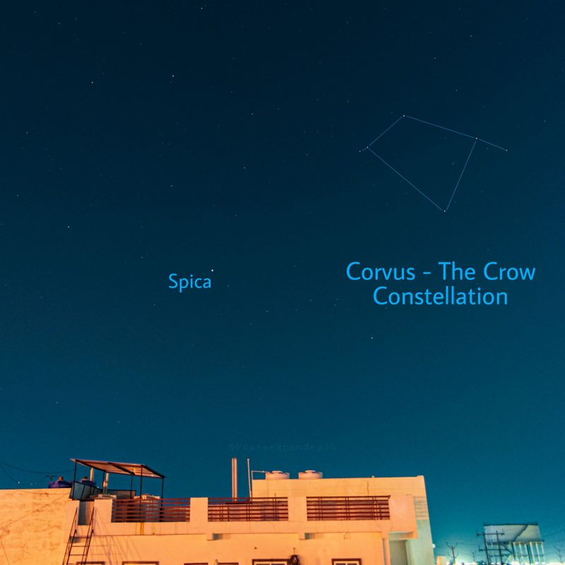 Sky with stars labeled Spica and Corvus.