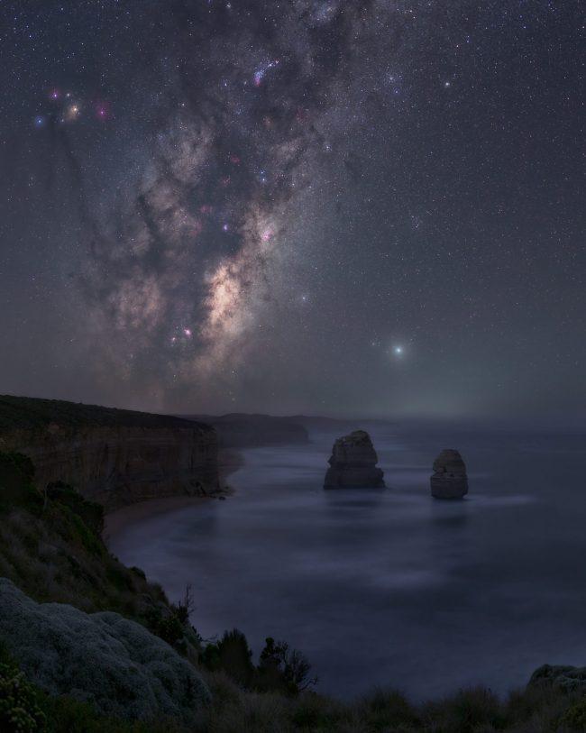 Rocky coastline with Milky Way overhead.