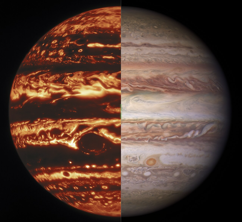 Jupiter with bright red glowing clouds on left half and regular clouds on right, on black background.