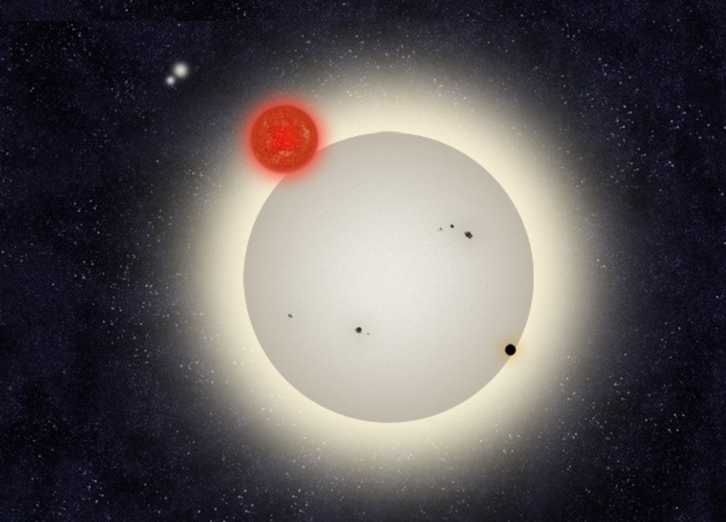 One large and three smaller stars close together, different colors.
