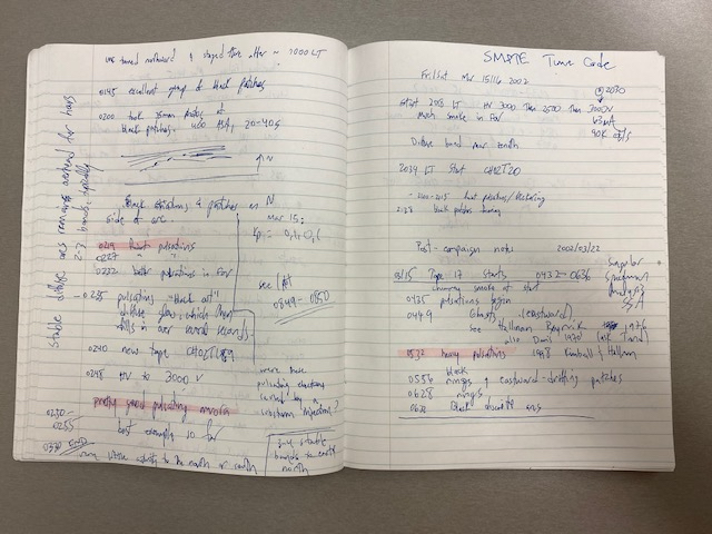 Open notebook with handwriting and highlights.