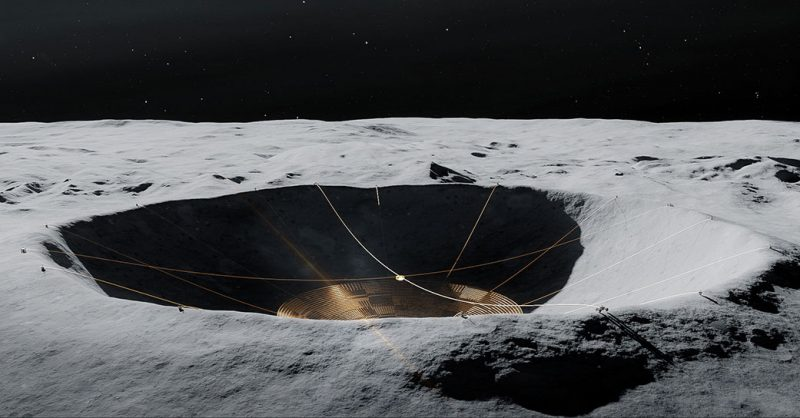 Closeup oblique view of crater with wires stretching across.