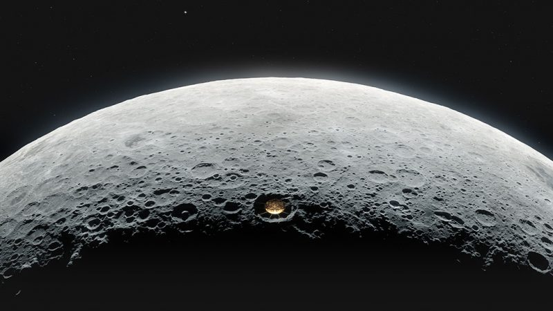 Cratered moon with metal dish in one crater.