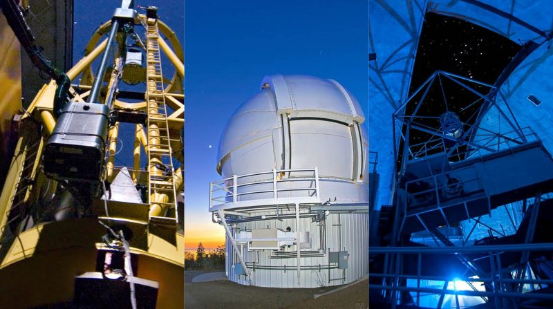 Montage of two telescopes and a closed white observatory dome.