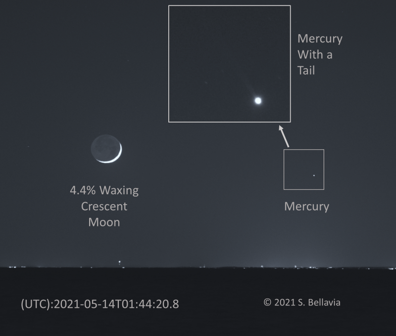 Crescent moon and Mercury, with inset showing short, thin, cone-shaped line coming from large dot.