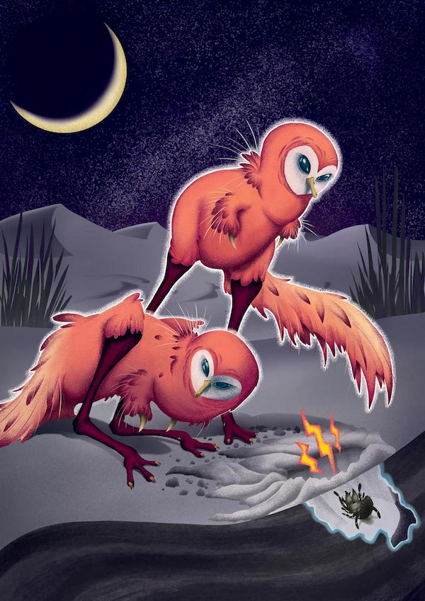 Small owl-like dinosaurs with crescent moon in night sky.