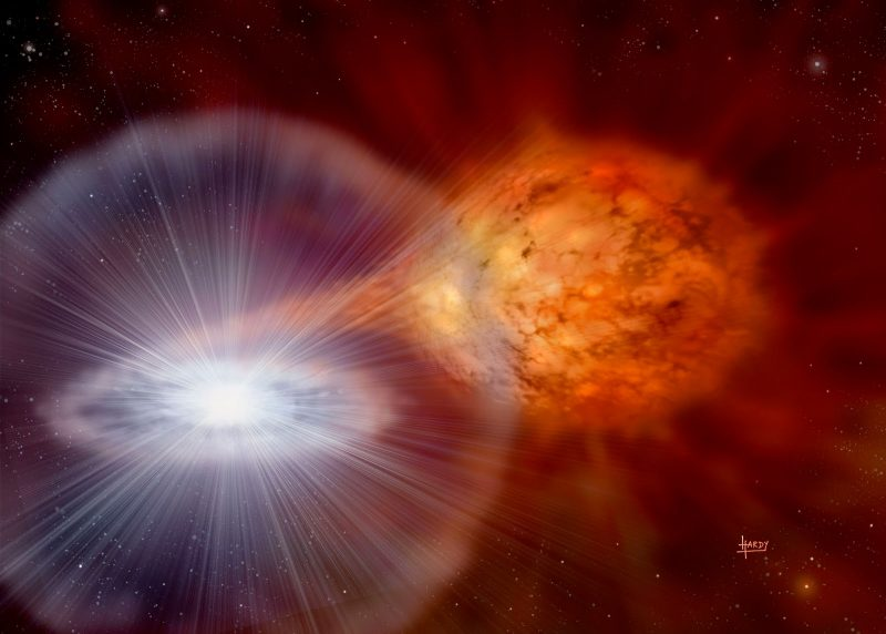 Material flowing from a red star to a nearby exploding white star.