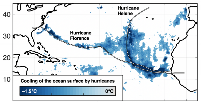 Chart showing the wakes of Hurricanes Florence and Helene as blue streaks on a map.