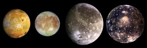 JUpiter's four major moons: Io, Europa, Ganymede and Callisto.