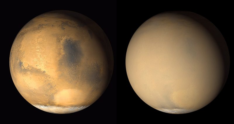 2 views of Mars with vivid features on left and smooth featureless surface on right.