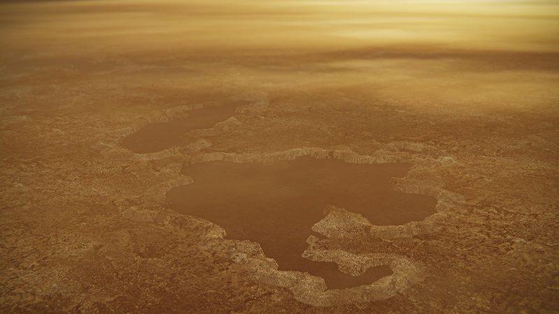 Yellow lakes amid brownish landscape.