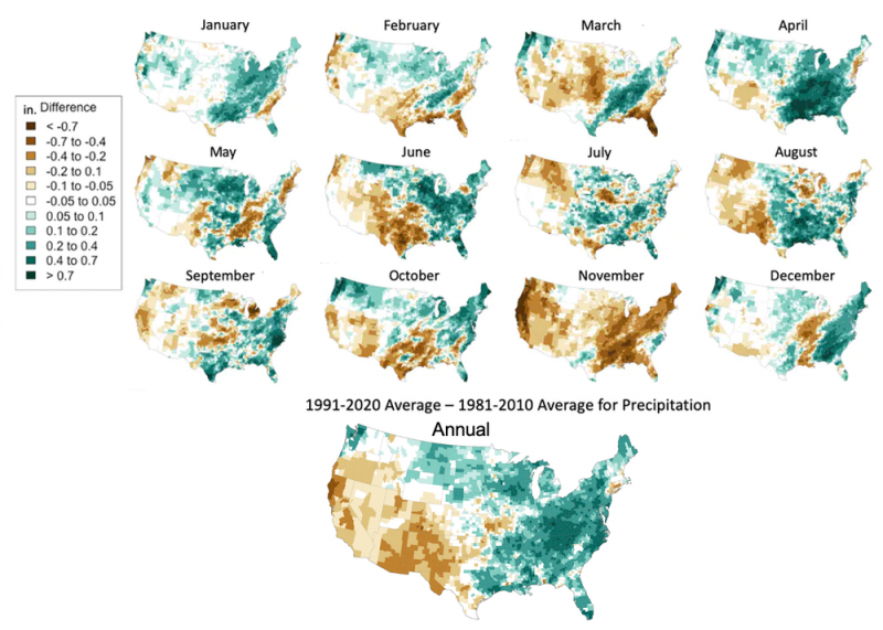 Maps with Central and Eastern U.S. wetter in 1991-2020 than in 1981-2010 and Western states drier.