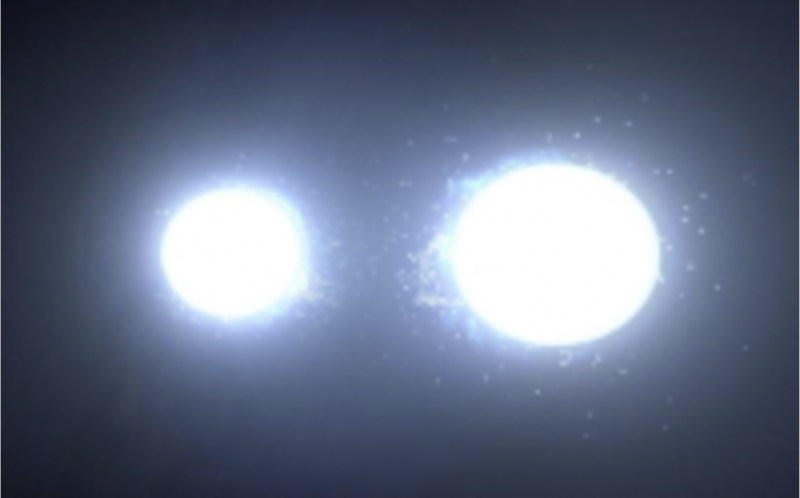 An image of 2 blue-white slightly oval spheres, one a bit larger than the other.
