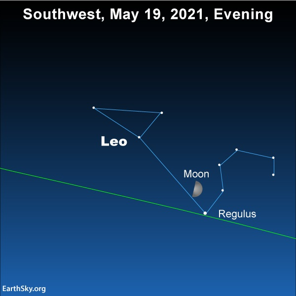 Moon and the star Regulus evening of May 19, 2021.