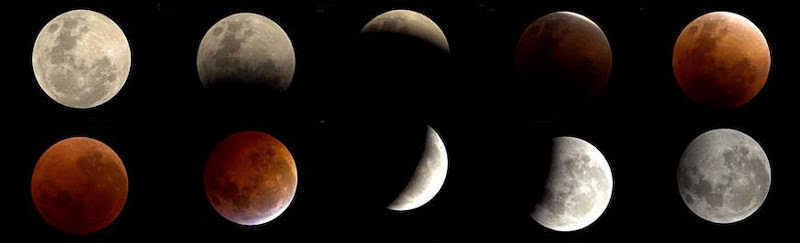 Ten views of the moon in a lunar eclipse photo.