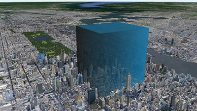 Simulated aerial view of Manhattan with huge blue cube towering over a portion.