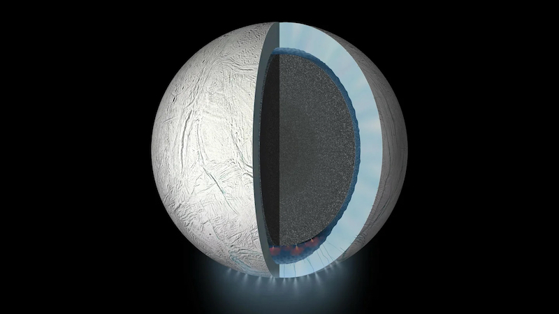 Planet with a large slice revealing a gray core surrounded by a thick blue layer with many small geysers at the bottom.