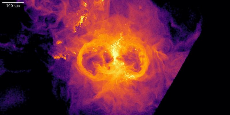 Bright orange feature resembling a sideways figure 8, surrounded by gas from orange to purple.