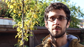 Young man with glasses and beard, next to a tree.