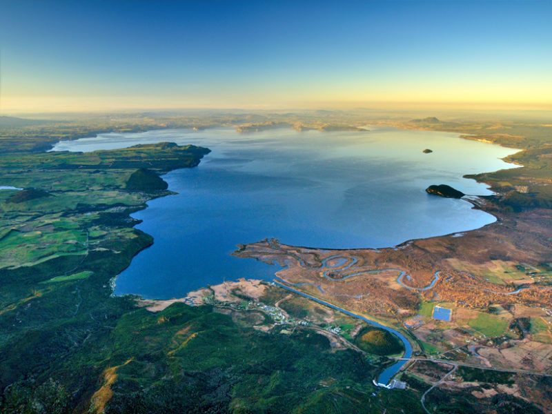 Lake shaped like Africa seen from above, above Taupo supervolcano.