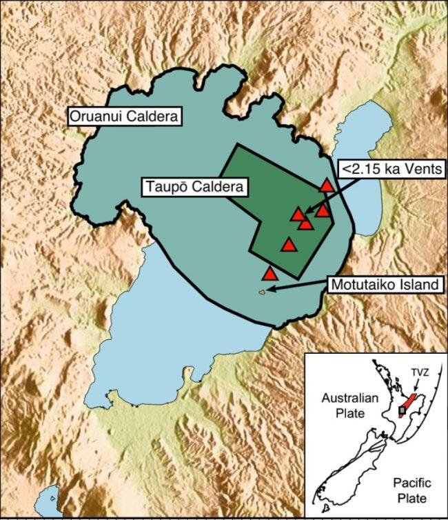 Map of Lake Taupo and underlying calderas.