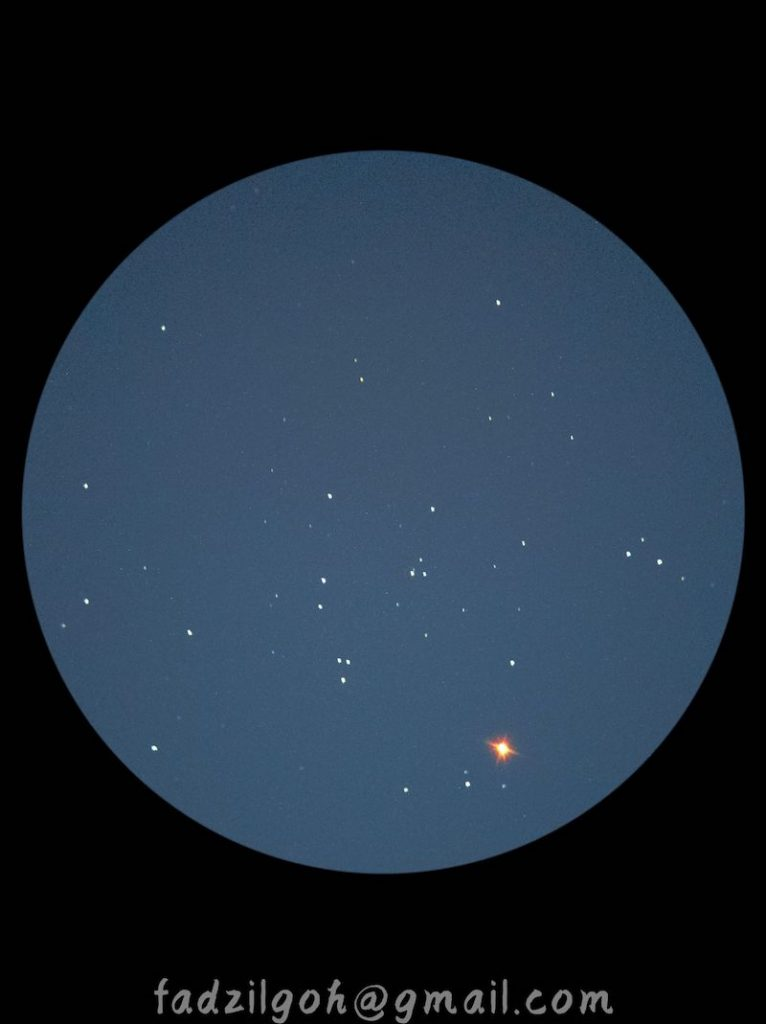 Small white dots are scattered in a pale blue sky.