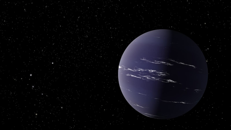 Mini-Neptune's atmosphere on blue, slightly clouded planet on black background.