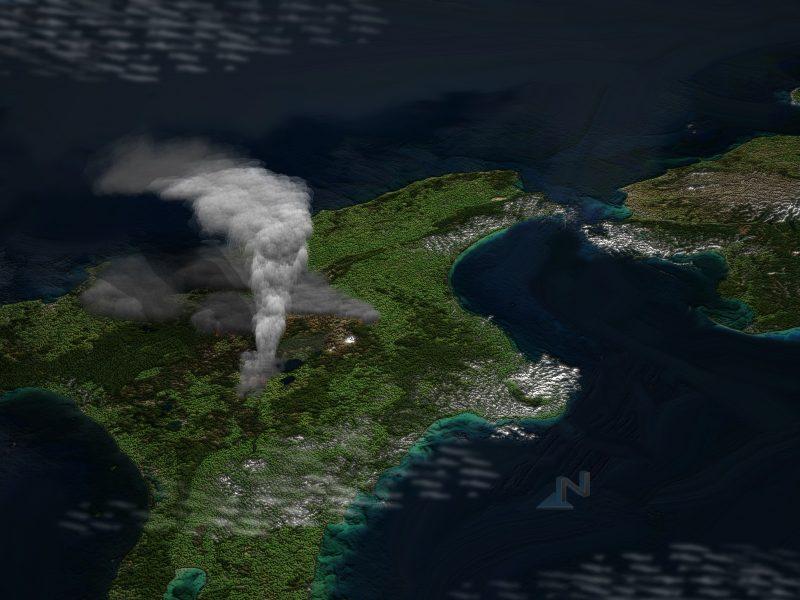 Satellite image of supervolcano Taupo with imagined eruption plume.