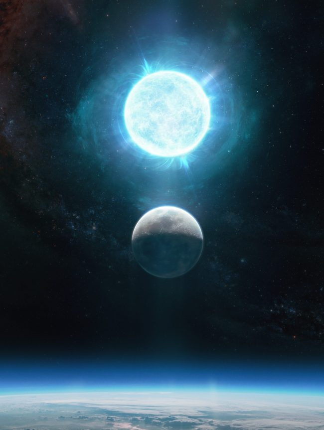 Most-massive white dwarf: Moon hovering over Earth with white dwarf above at nearly the same size.