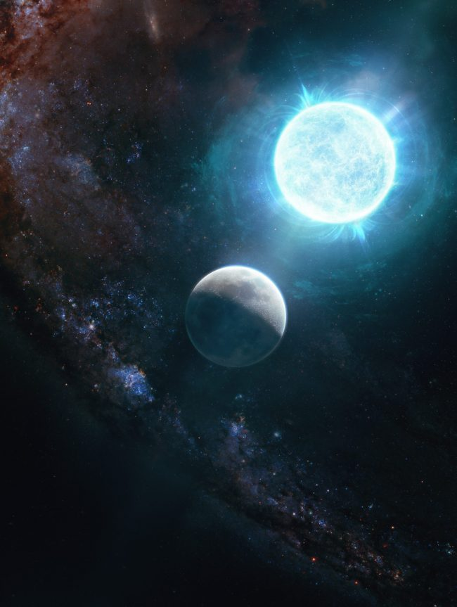 Most-massive white dwarf: Bright white ball of light and nearby small dim white sphere.