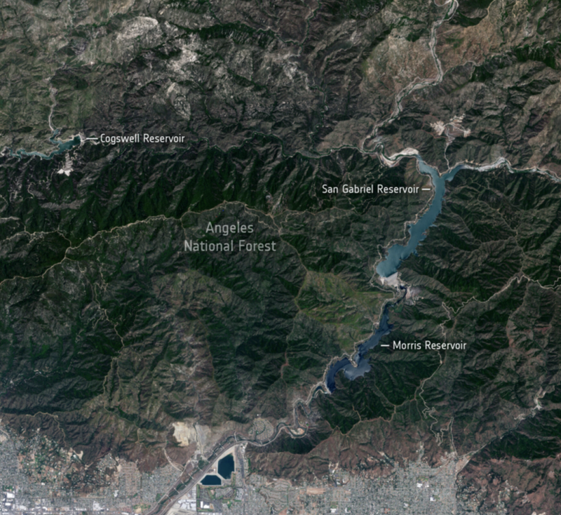 Looking down from space on forested hillsides, in 2020.  - angeles national forest jun12 2020 e1624282568703 - Stark reality of California drought from space   Earth