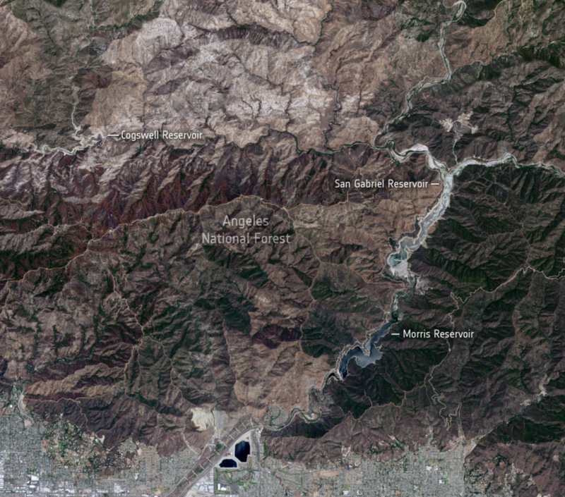 Looking down from space on dry and brown hillsides, during the 2021 California drought.  - angeles national forest jun12 2021 e1624282506822 - Stark reality of California drought from space   Earth
